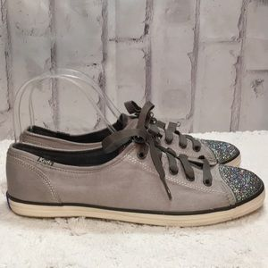 Keds Gray Lace Up and Glitter Toe Sneakers Sz 8